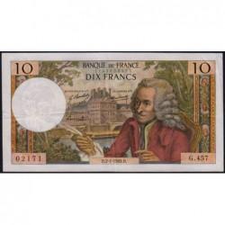 F 62-36 - 02/01/1969 - 10 francs - Voltaire - Série G.457 - Etat : TTB-
