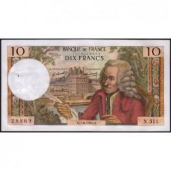 F 62-39 - 07/08/1969 - 10 francs - Voltaire - Série N.511 - Etat : SPL