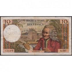 F 62-43 - 05/03/1970 - 10 francs - Voltaire - Série X.567 - Etat : TB