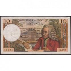 F 62-43 - 05/03/1970 - 10 francs - Voltaire - Série X.572 - Etat : TB+