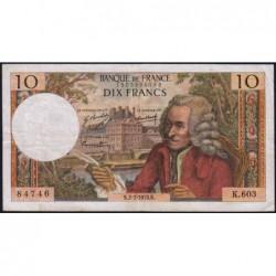 F 62-45 - 02/07/1970 - 10 francs - Voltaire - Série K.603 - Etat : TB+