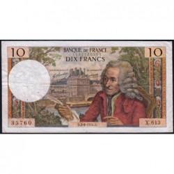 F 62-46 - 03/09/1970 - 10 francs - Voltaire - Série X.613 - Etat : TB