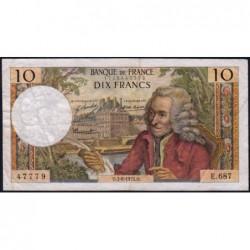 F 62-50 - 03/06/1971 - 10 francs - Voltaire - Série E.687 - Etat : TB
