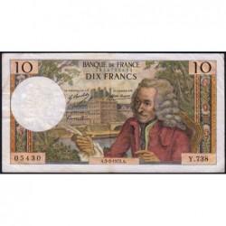 F 62-54 - 03/02/1972 - 10 francs - Voltaire - Série Y.738 - Etat : TB+