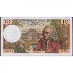 F 62-56 - 01/06/1972 (04/05/1972) - 10 francs - Voltaire - Série K.778 - Etat : TB+