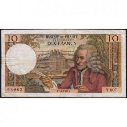 F 62-58 - 07/09/1972 - 10 francs - Voltaire - Série Y.807 - Etat : TB