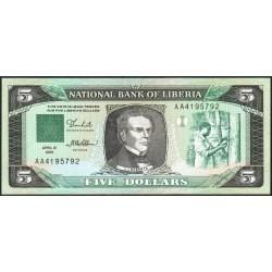 Libéria - Pick 19 - 5 dollars - Série AA - 12/04/1989 - Etat : NEUF