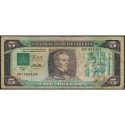 Libéria - Pick 19 - 5 dollars - Série AD - 12/04/1989 - Etat : TB