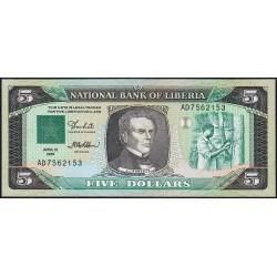 Libéria - Pick 19 - 5 dollars - Série AD - 12/04/1989 - Etat : NEUF