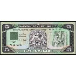 Libéria - Pick 20 - 5 dollars - Série AL - 06/04/1991 - Etat : NEUF