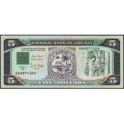 Libéria - Pick 20 - 5 dollars - Série AN - 06/04/1991 - Etat : NEUF