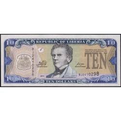 Libéria - Pick 27f - 10 dollars - Série BJ - 2011 - Etat : NEUF