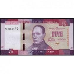 Libéria - Pick 31a - 5 dollars - Série AA - 2016 - Etat : NEUF