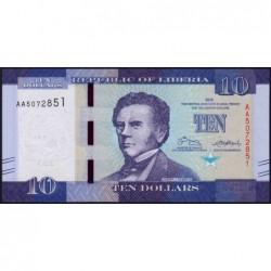 Libéria - Pick 32a - 10 dollars - Série AA - 2016 - Etat : NEUF