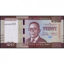 Libéria - Pick 33a - 20 dollars - Série AA - 2016 - Etat : NEUF