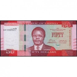 Libéria - Pick 34a - 50 dollars - Série AA - 2016 - Etat : NEUF