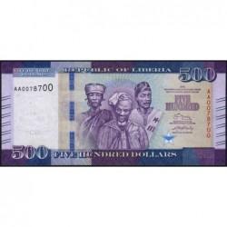 Libéria - Pick 36a - 500 dollars - Série AA - 2016 - Etat : NEUF