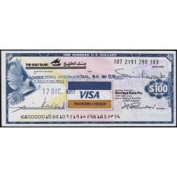 Koweit - Chèque Voyage - Gulf Bank - 100 dollars - 1991 - Etat : SUP