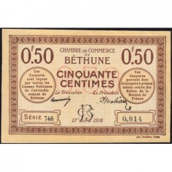 Béthune - Pirot 26-15 - 50 centimes - Série 746 - 17/04/1916 - Etat : SPL+