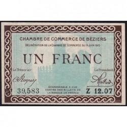 Béziers - Pirot 27-10 - 1 franc - Série Z 12.07 - 09/06/1915 - Etat : pr.NEUF