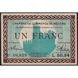 Béziers - Pirot 27-13 - 1 franc - Série L 50.34 - 09/06/1915 - Etat : TTB