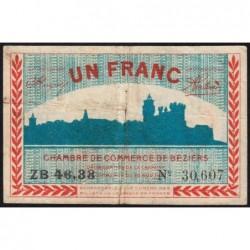 Béziers - Pirot 27-23 - 1 franc - Série ZB 46.33 - 19/11/1918 - Etat : TB