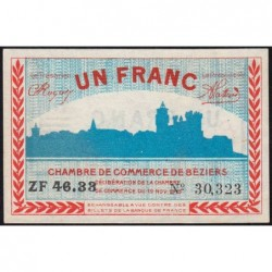 Béziers - Pirot 27-23 - 1 franc - Série ZF 46.33 - 19/11/1918 - Etat : NEUF