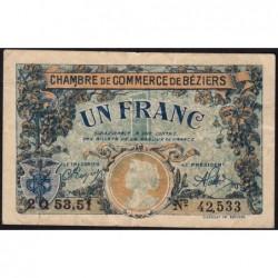 Béziers - Pirot 27-34 - 1 franc - Série 2Q 53.51 - 14/03/1922 - Etat : TB+