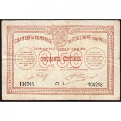 Boulogne-sur-Mer - Pirot 31-11 - Série C1 - 50 centimes - 14/08/1914 - Etat : TB