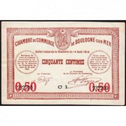 Boulogne-sur-Mer - Pirot 31-14 - Série C1 - 50 centimes - 14/08/1914 - Etat : SUP