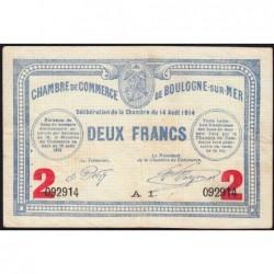 Boulogne-sur-Mer - Pirot 31-16 - Série A1 - 2 francs - 14/08/1914 - Etat : TTB