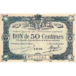 Le Havre - Pirot 68-14b - 50 centimes - 1916 - Etat : SUP+