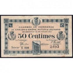 Chalon-sur-Saône / Autun / Louhans - Pirot 42-20 - 50 centimes - Série E 338 - 22/07/1919 - Etat : TB+