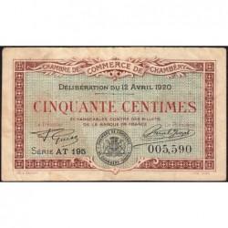 Chambéry - Pirot 44-12 - 50 centimes - Série AT 195 - 12/04/1920 - Etat : TB