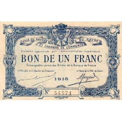 Le Havre - Pirot 68-15 - 1 franc - 1916 - Etat : TTB