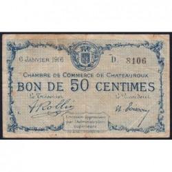 Chateauroux - Pirot 46-14 - 50 centimes - Série H - 06/01/1916 - Etat : TB-