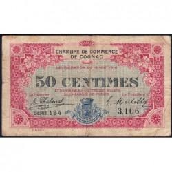 Cognac - Pirot 49-1 - 50 centimes - Série 134 - 19/08/1916 - Etat : TB-