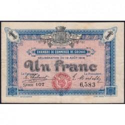 Cognac - Pirot 49-3 - 1 franc - Série 107 - 19/08/1916 - Etat : TB+