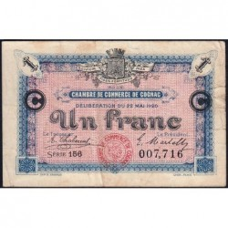 Cognac - Pirot 49-10 - 1 franc - Série 156 - 22/05/1920 - Etat : TB