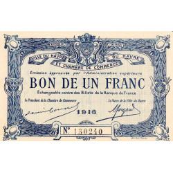 Le Havre - Pirot 68-15 - 1 franc - 1916 - Etat : SPL
