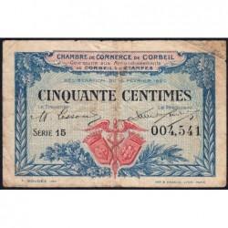 Corbeil - Pirot 50-1 - 50 centimes - Série 15 - 16/02/1920 - Etat : TB-