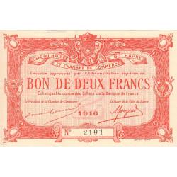 Le Havre - Pirot 68-16a - 2 francs - 1916 - Etat : SPL+
