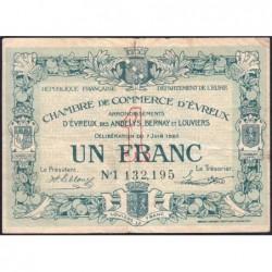 Evreux (Eure) - Pirot 57-17 - 1 franc- Chiffre 1 - 07/06/1920 - Etat : TB