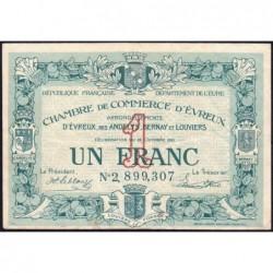 Evreux (Eure) - Pirot 57-20 - 1 franc- Chiffre 2 - 25/10/1921 - Etat : TTB