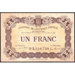 Epinal - Pirot 56-14b - 1 franc - Chiffre 3 - 1921 - Etat : TTB