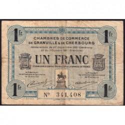 Granville / Cherbourg - Pirot 61-8 - 1 franc - 27/09/1921 - Etat : TB-