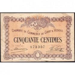 Gray / Vesoul - Pirot 62-1 - 50 centimes - 1915 - Etat : TB+
