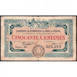Gray / Vesoul - Pirot 62-11 - 50 centimes - Série 30 - 1919 - Etat : TB-