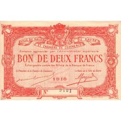 Le Havre - Pirot 68-16a - 2 francs - 1916 - Etat : SUP+