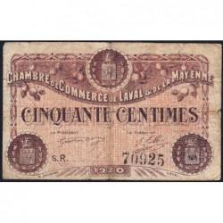 Laval (Mayenne) - Pirot 67-1 - 50 centimes - Série R - 1920 - Etat : B+